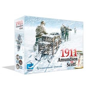 1911 Amundsen vs Scott es un juego de mesa para 2 jugadores que compiten por ser la primera expedición en alcanzar el Polo Sur. Disponible para comprar en Lámpara Mágica Shop Sevilla.