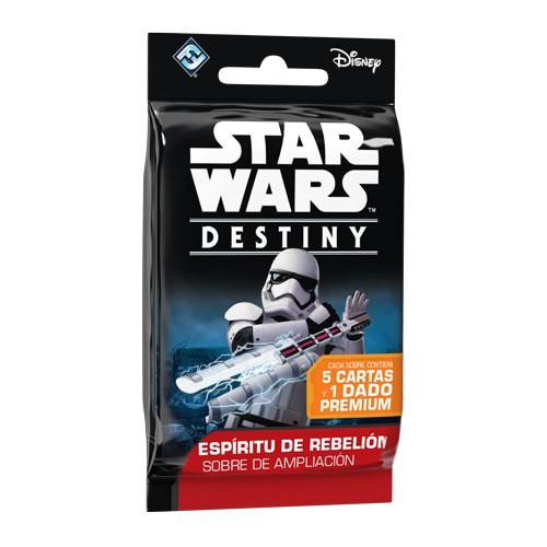 Sobre de la segunda ampliación Espíritu de Rebelión para Star Wars Destiny. Contiene 5 cartas, 1 rara o legendaria, 1 infrecuente y 3 comunes, y un dado especial. Disponible para comprar en oferta en Lámpara Mágica Shop. Estamos en Sevilla.