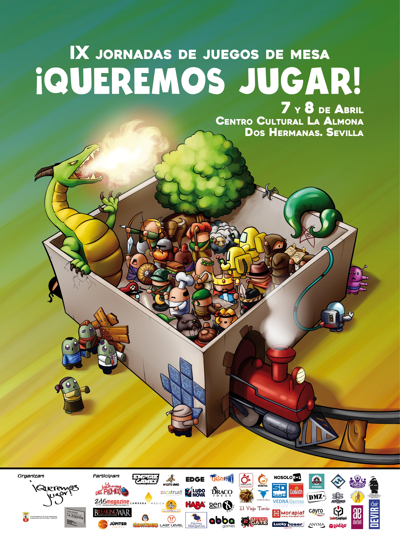 IX Jornadas de juegos de mesa Queremos Jugar! Con la colaboración de Lámpara Mágica Shop. Tu tienda online especializada en juegos de mesa. Estamos en Sevilla.